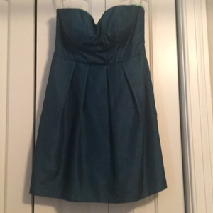 Jenny Yoo Dark Turquoise Green Polyester Cocktail Length Casual Bridesmaid/Mob Dress Size 10 (M)