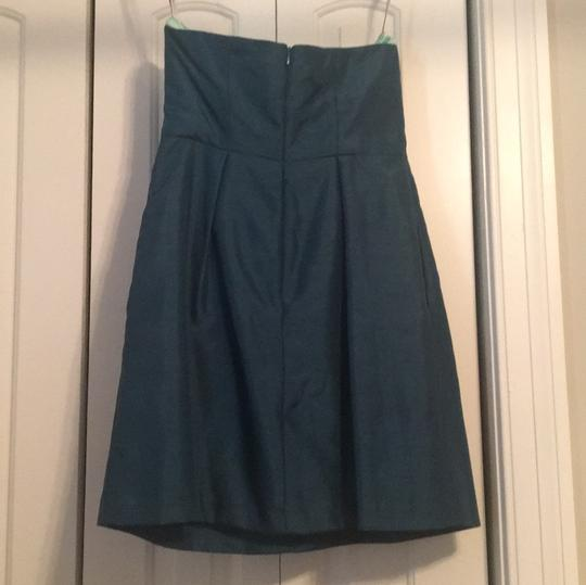 Jenny Yoo Dark Turquoise Green Polyester Cocktail Length Casual Bridesmaid/Mob Dress Size 10 (M) Image 1