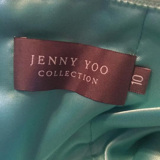 Jenny Yoo Dark Turquoise Green Polyester Cocktail Length Casual Bridesmaid/Mob Dress Size 10 (M) Image 2