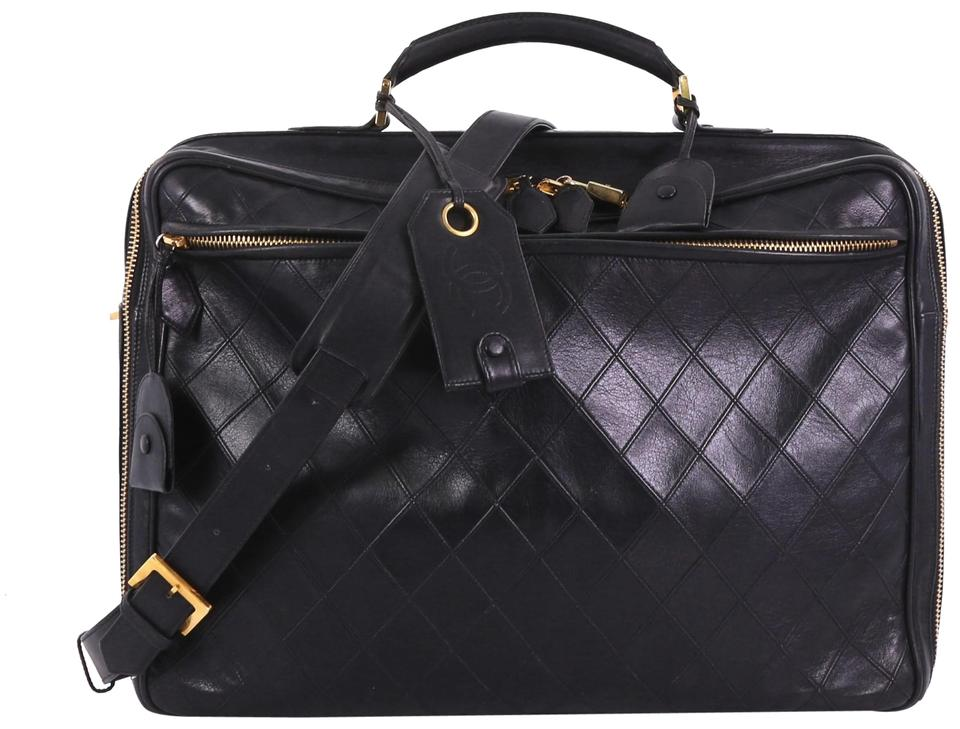 f7d6e82931f7c4 Chanel Vintage Diamond Stitch Quilted Large Black Lambskin Leather ...