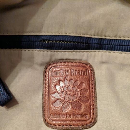 Lucky Brand Extra Large Cream Canvas Tote in Blue white and salmon Image 4