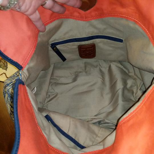 Lucky Brand Extra Large Cream Canvas Tote in Blue white and salmon Image 9