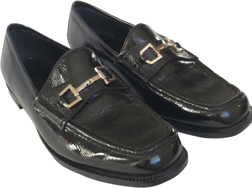 6361af3a76 Gucci Black and Silver Horsebit Patent Leather Square Toe Loafers Flats