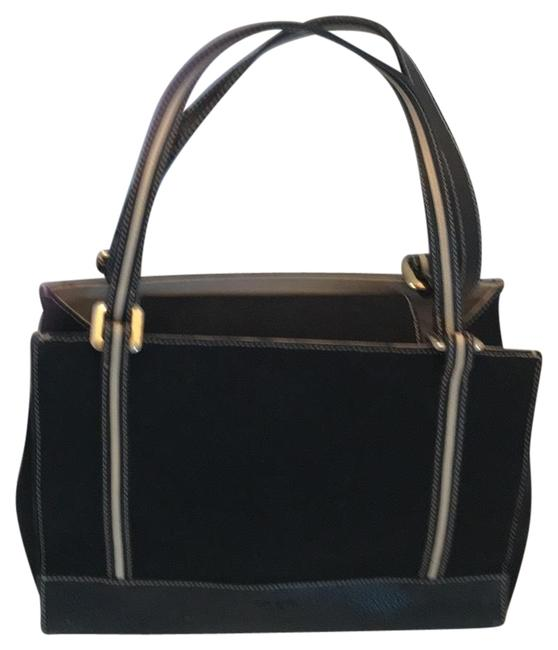 Item - Classic Back with Ivory Trim Leather& Fabric Baguette