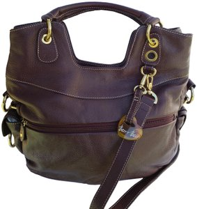 Barr + Barr Gold Color Hardware Leather Cotton Lining Cross Body Bag