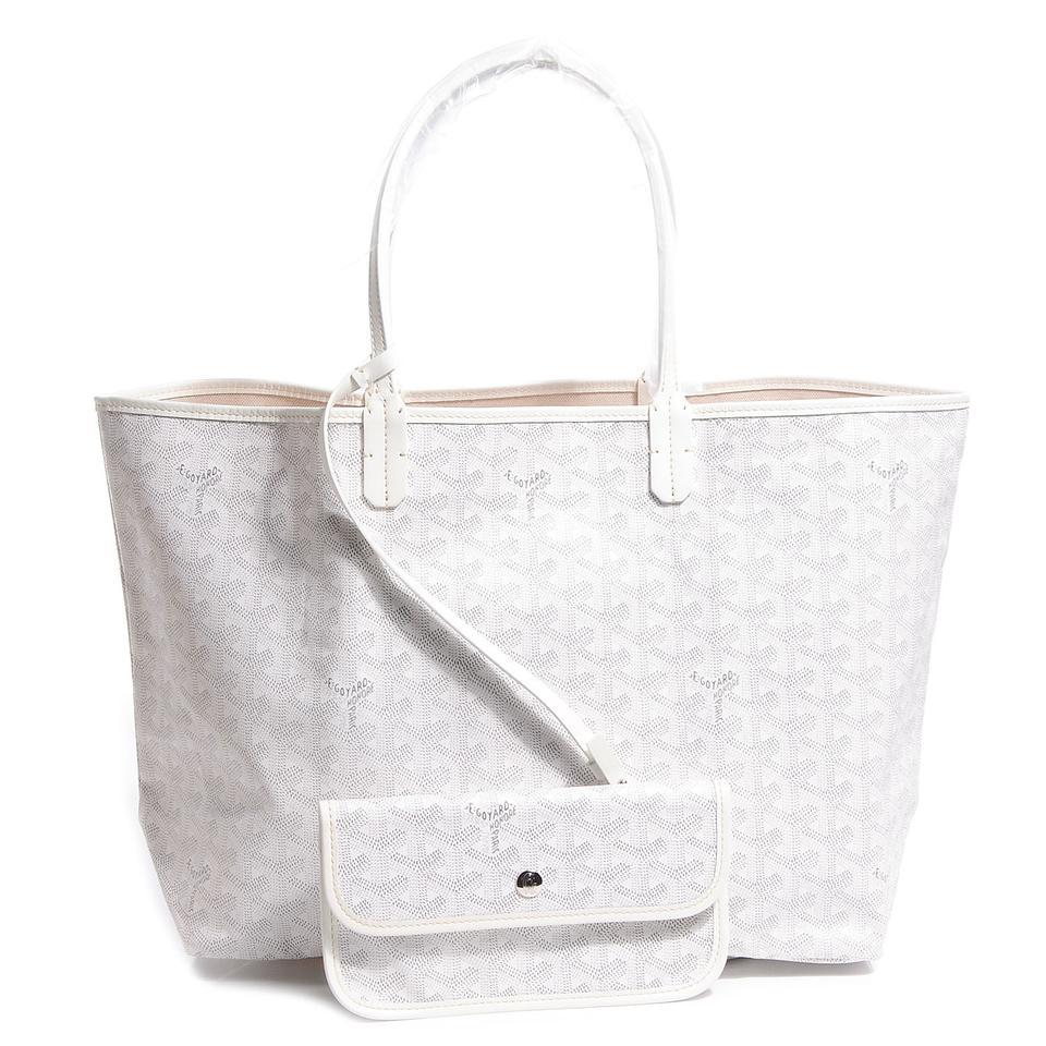7e286ba08053 Goyard Classic Chevron St. Louis Pm - Includes Detachable Wallet White  Coated Canvas and Leather Tote