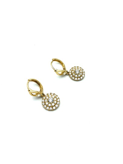 Other 14k yellow gold round pendant hanging earring Image 2