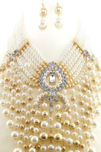 pearl New Chunky Pearl Necklace and earrings set