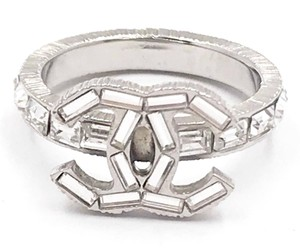 Chanel Chanel Silver CC Baguette Crystal Ring