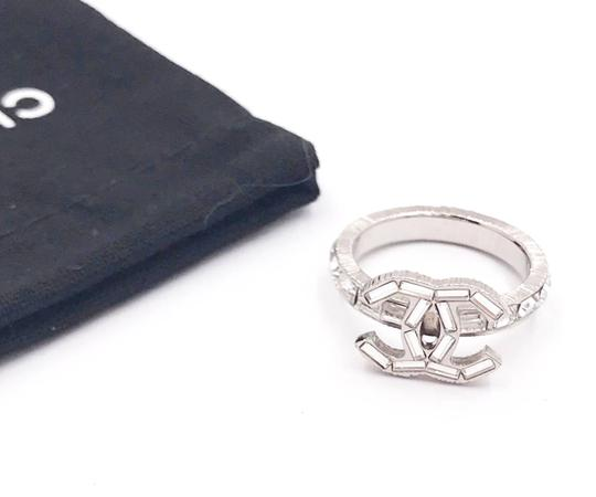 Chanel Chanel Silver CC Baguette Crystal Ring Image 1