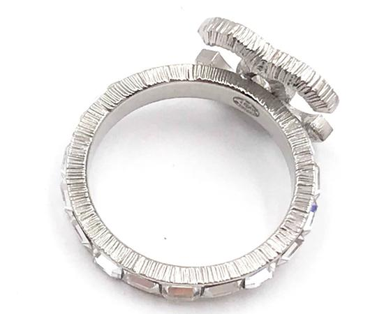 Chanel Chanel Silver CC Baguette Crystal Ring Image 2