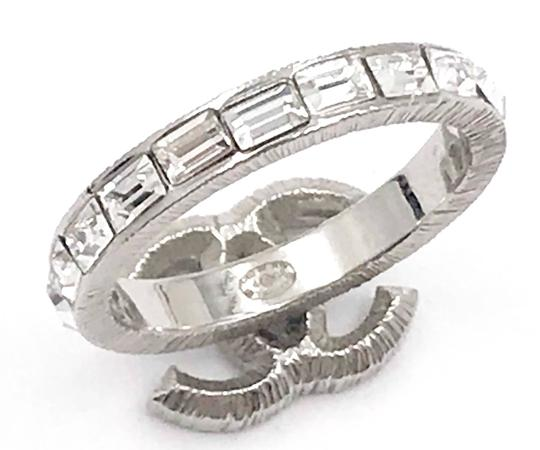 Chanel Chanel Silver CC Baguette Crystal Ring Image 3