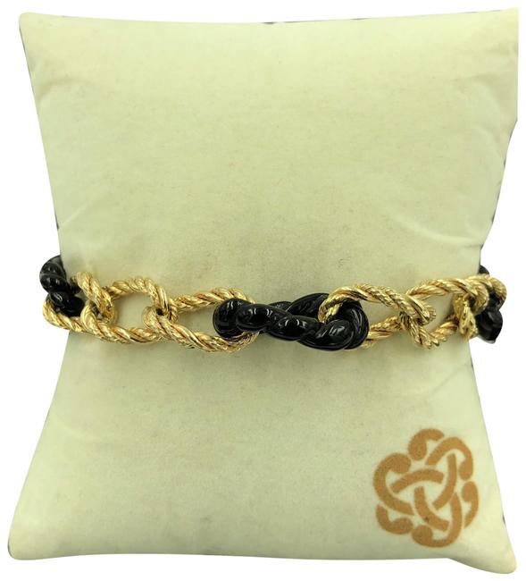 Item - Black and Yellow Gold Italy 14kt Large Twisted Rope Curve & Onyx Link Bracelet