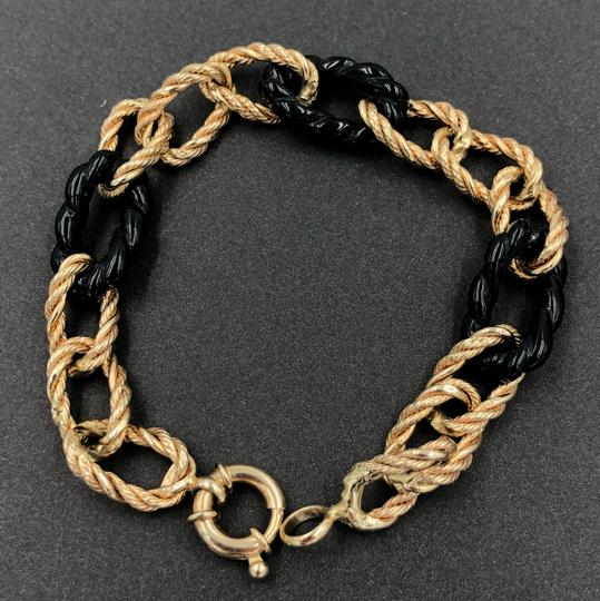 Milor Milor Italy 14KT Yellow Gold Large Twisted Rope Curve Gold & Onyx Link Bracelet Image 2