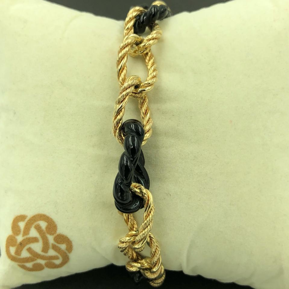 e963066404a4e Milor Black and Yellow Gold Italy 14kt Large Twisted Rope Curve & Onyx Link  Bracelet 80% off retail