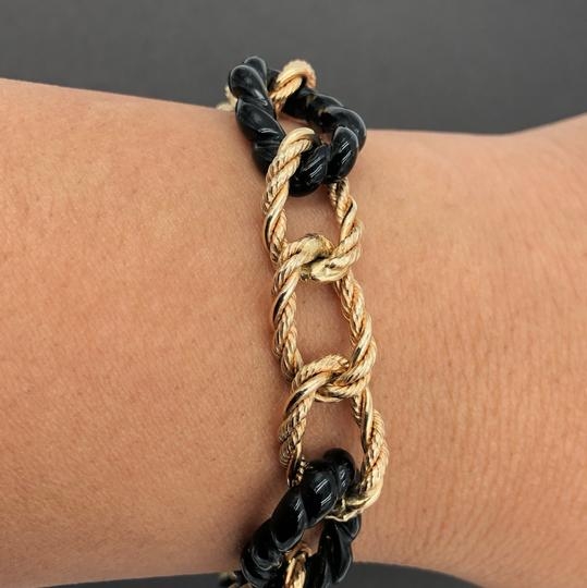 Milor Milor Italy 14KT Yellow Gold Large Twisted Rope Curve Gold & Onyx Link Bracelet Image 4