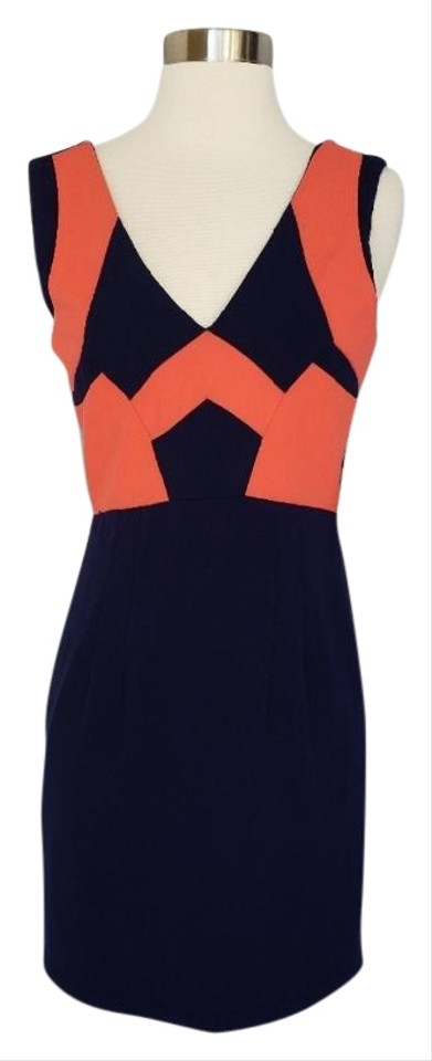 98f3c5fd4eb 5 48 Navy and Coral Geometric Career Mid-length Work Office Dress ...