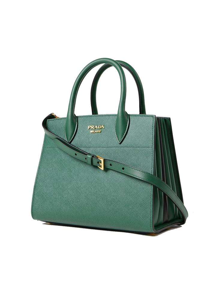 4ced8ec4ce60c Prada Bibliothèque Black Handbag 1ba049 Green Leather Tote - Tradesy
