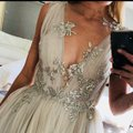 Nude with Silver Tulle and Silk Couture Gown Formal Bridesmaid/Mob Dress Size 2 (XS) Image 1