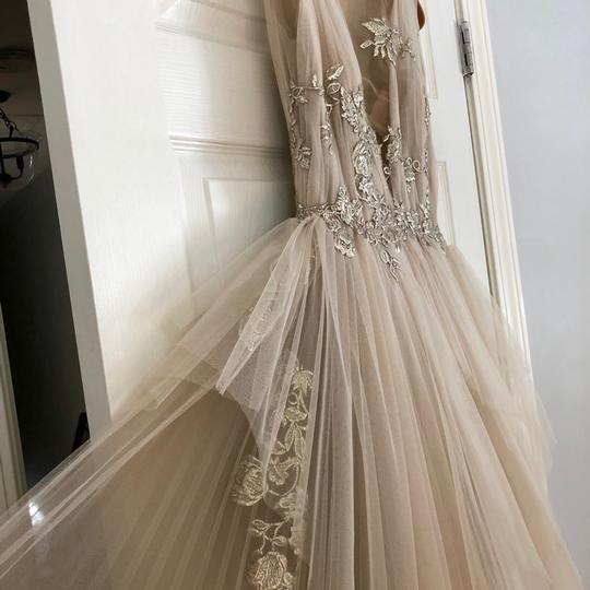 Nude with Silver Tulle and Silk Couture Gown Formal Bridesmaid/Mob Dress Size 2 (XS) Image 2