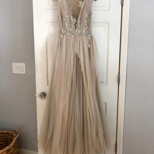 Nude with Silver Tulle and Silk Couture Gown Formal Bridesmaid/Mob Dress Size 2 (XS) Image 3