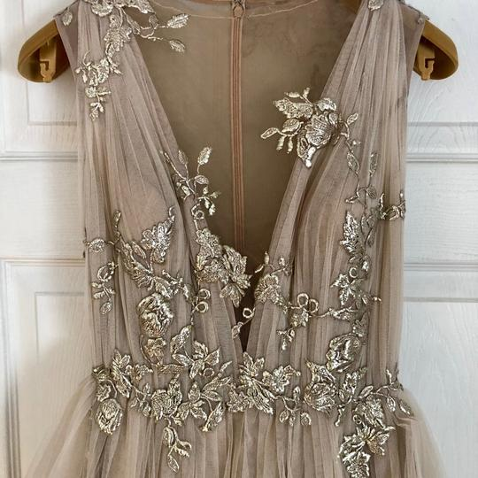 Nude with Silver Tulle and Silk Couture Gown Formal Bridesmaid/Mob Dress Size 2 (XS) Image 4