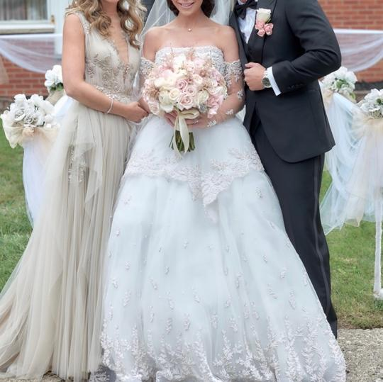 Nude with Silver Tulle and Silk Couture Gown Formal Bridesmaid/Mob Dress Size 2 (XS) Image 5
