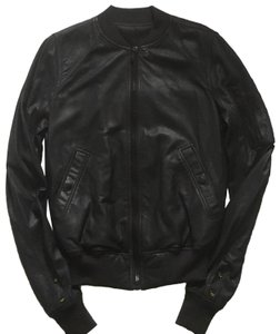 Rick Owens Raglan Bomber black Leather Jacket