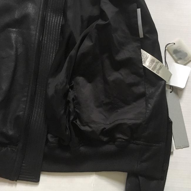 Rick Owens Raglan Bomber black Leather Jacket Image 4
