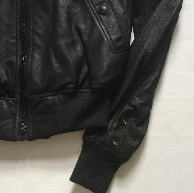 Rick Owens Raglan Bomber black Leather Jacket Image 5