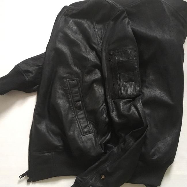 Rick Owens Raglan Bomber black Leather Jacket Image 6