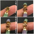 HN 14KT Yellow Gold Purple & Green Jade Chinese Character Bracelet Image 2