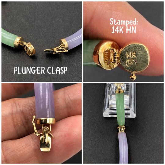 HN 14KT Yellow Gold Purple & Green Jade Chinese Character Bracelet Image 4
