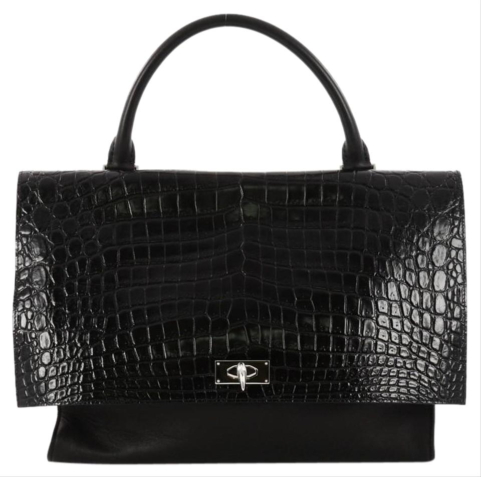 ced237d062fa Givenchy Shark Convertible Crocodile Embossed Medium Black Leather ...