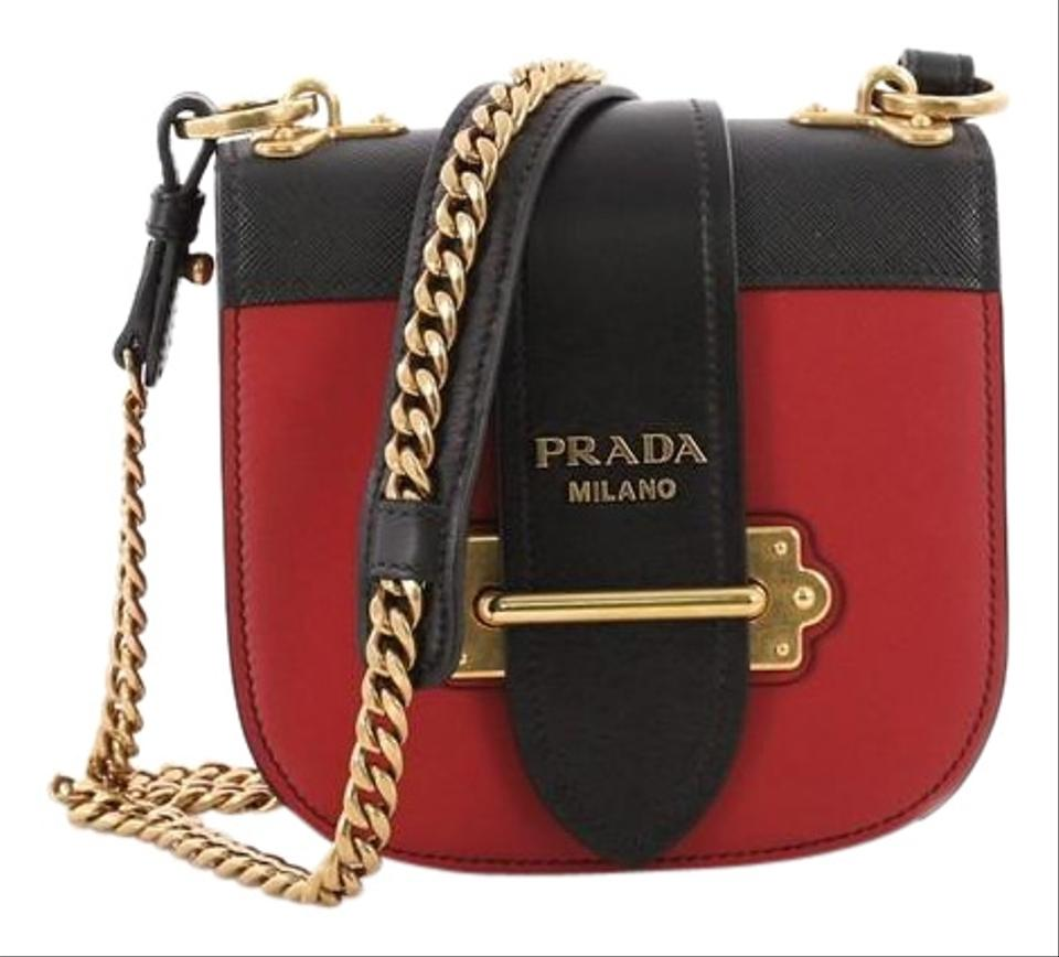 b3887a860236 Prada Pionniere City Calfskin with Saffiano Small Black and Red ...