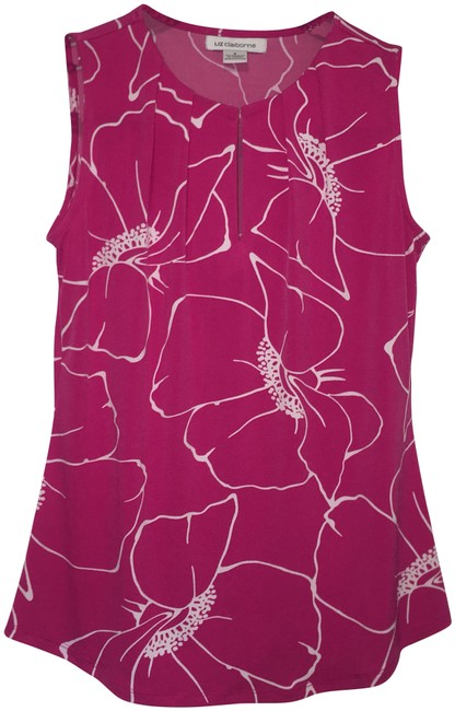Liz Claiborne Flowers Office Work Summer Classy Top Pink Image 0