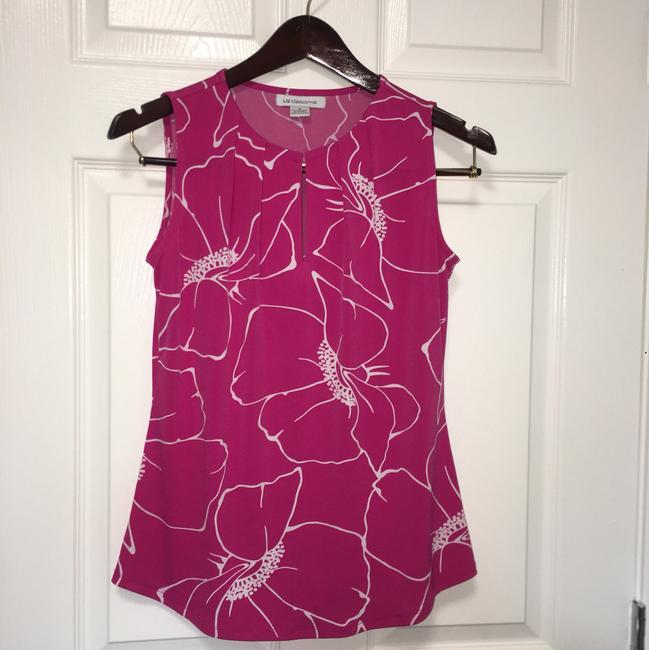 Liz Claiborne Flowers Office Work Summer Classy Top Pink Image 6