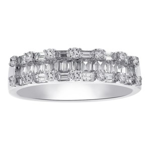 Avital & Co Jewelry 1.00 Carat Baguette and Round Cut Diamond Wedding Eternity Band