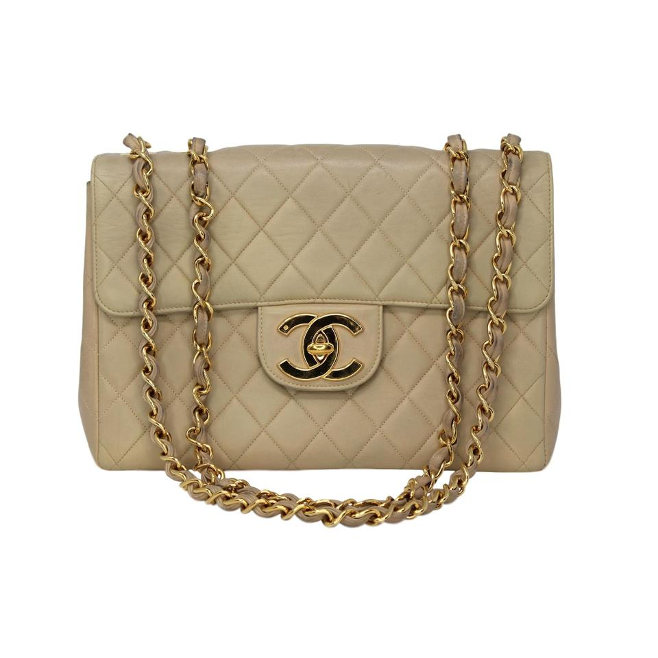 3ad06723be9b Chanel Classic Flap Vintage 90s Rare Discontinued Jumbo Xl Beige Lambskin Leather  Shoulder Bag - Tradesy
