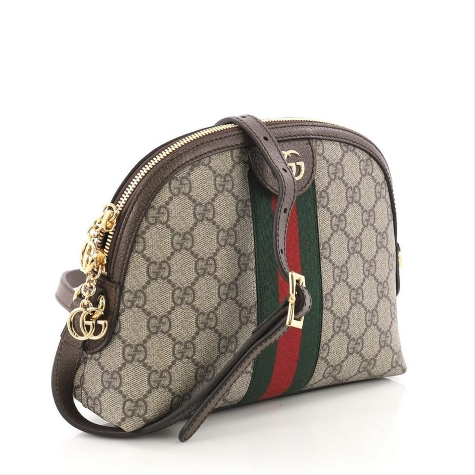 595e0607220 Gucci Dome Ophidia Gg Small Brown Coated Canvas Shoulder Bag - Tradesy