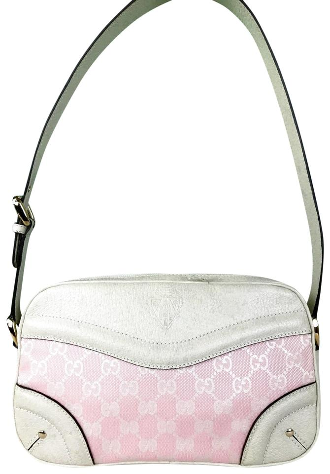 7d2779b80ffd Gucci Monogram Gg Web White Leather Trim Baguette Sale Pink Canvas Shoulder  Bag