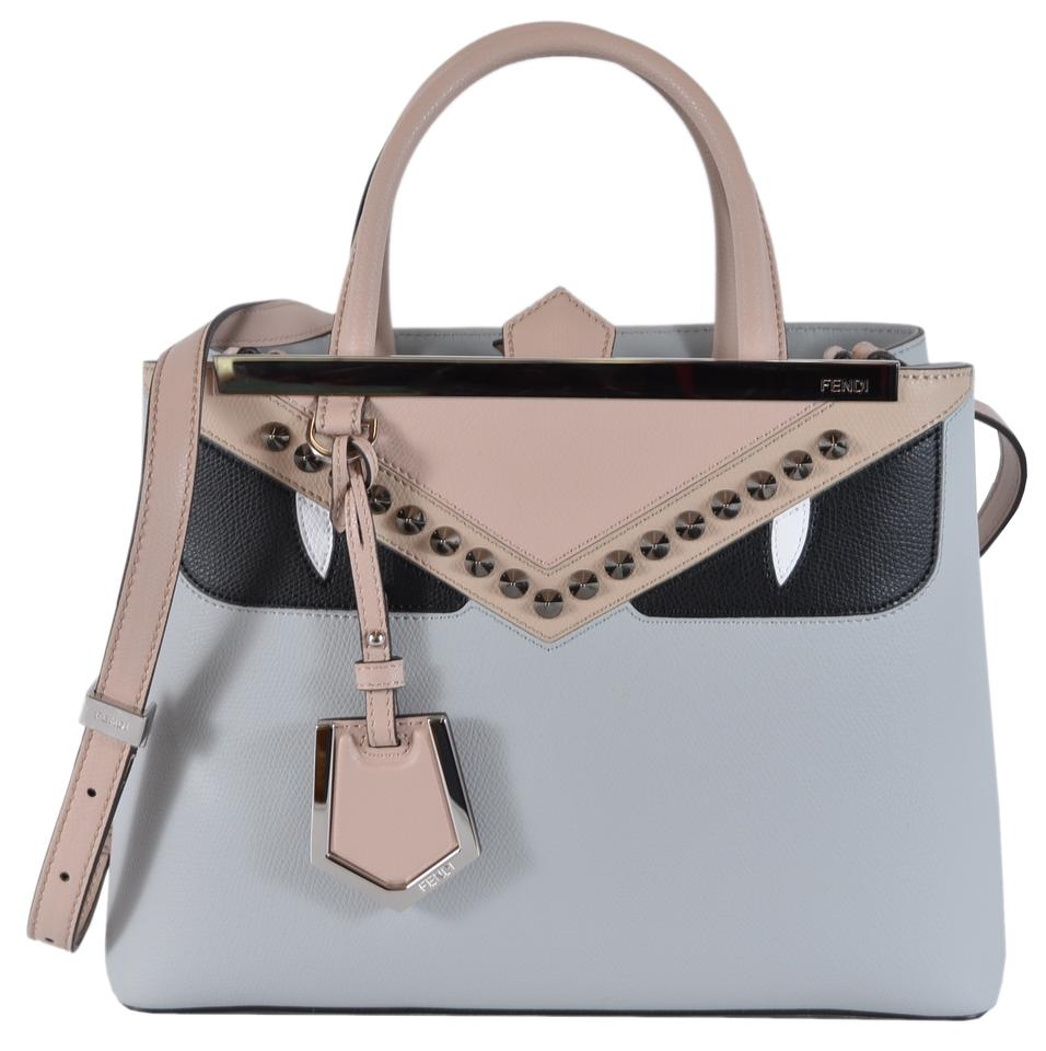e40f0d143bb Fendi New 8bh253 Bug Eyes 2 Jours Purse Grey Leather Cross Body Bag ...