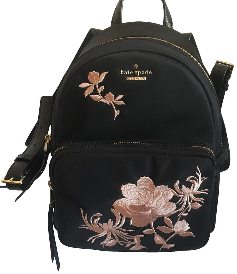 6d25270e9c Kate Spade Small Noria Dawn Place Embroidered Black Nylon Backpack