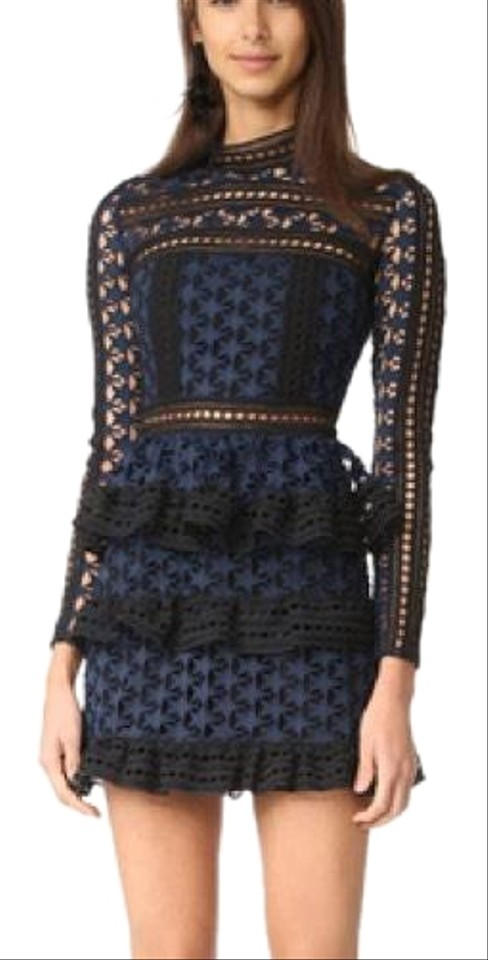 8d3424bb3f self-portrait Black and Navy High Neck Star Lace Short Cocktail ...