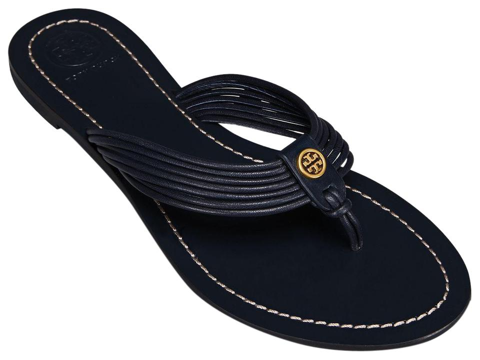 578660adb069 Tory Burch Blue Sienna Perfect Navy Glove Nappa Leather Reva Thong Sandals  Flats