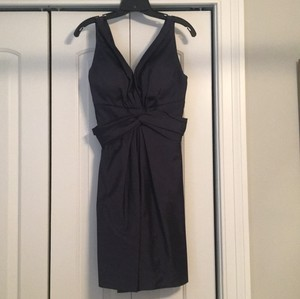 Jim Hjelm Navy Silky Taffeta Polyester Casual Bridesmaid/Mob Dress Size 12 (L)