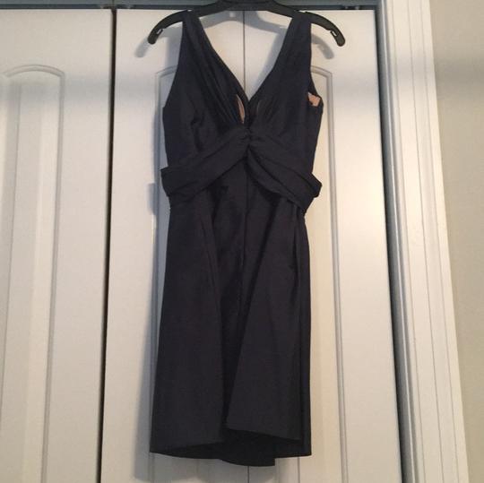 Jim Hjelm Navy Silky Taffeta Polyester Casual Bridesmaid/Mob Dress Size 12 (L) Image 1
