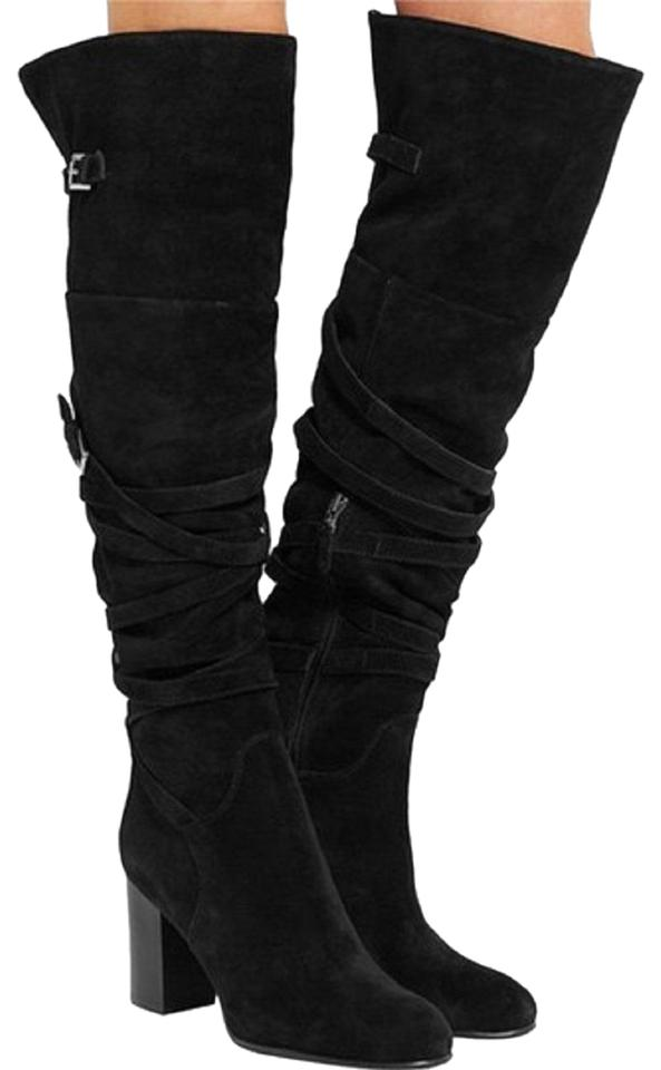 20662c66fbe574 Sam Edelman Suede Leather Belt Wraps Over The Knee black Boots Image 0 ...