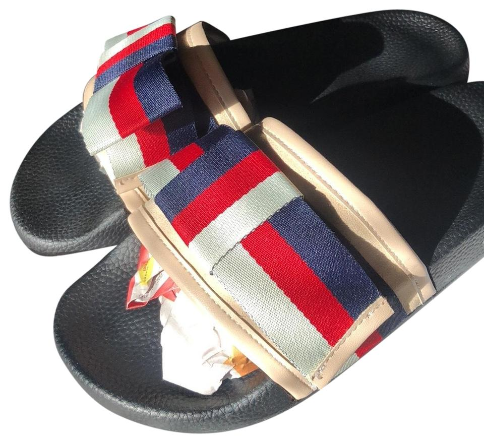 896807db784 Gucci Beige Blue Red Satin Slide with Web Bow Sandals Size US 7.5 ...
