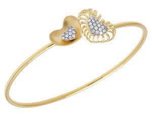 Jewelry Unlimited 14K Yellow Gold Real Diamond Double Heart Ladies Flex Bangle 0.45 CT